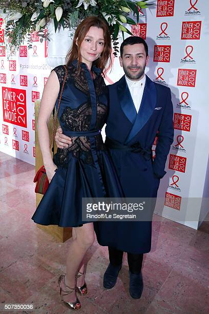 Audrey Marnay and Stylist Alexis Mabille attend the Sidaction Gala Dinner 2016 as part of Paris Fashion Week Held at Pavillon d'Armenonville on...