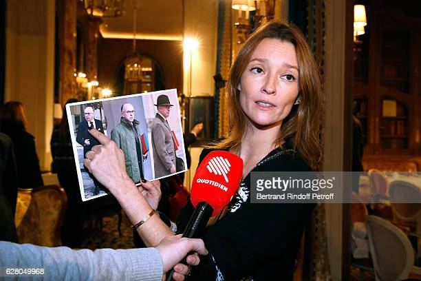 Audrey Marnay answering to journalist attends the 'Chanel Collection des Metiers d'Art 2016/17 Paris Cosmopolite' Show at Hotel Ritz on December 6...