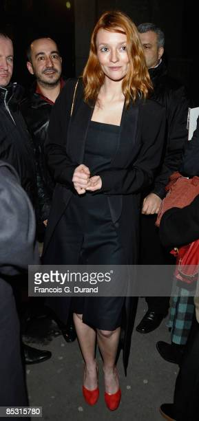 Audrey Marnay arrives at the Yves Saint Laurent ReadytoWear A/W 2009 fashion show during Paris Fashion Week at Palais de Tokyo on March 9 2009 in...