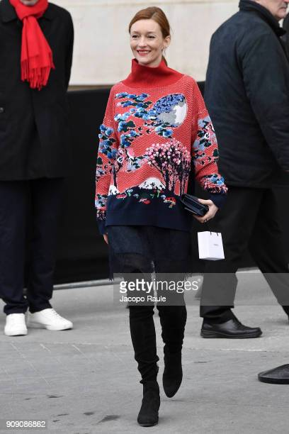 Audrey Marnay is seen arriving at Chanel Fashion show during Paris Fashion Week Haute Couture Spring/Summer 2018 on January 23 2018 in Paris France