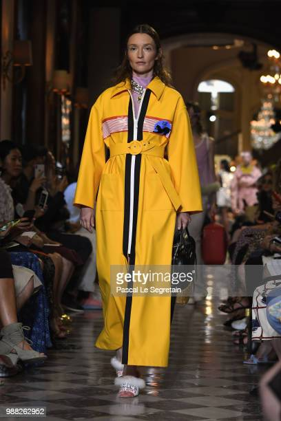 Audrey Marnay walks the runway during Miu Miu 2019 Cruise Collection Show at Hotel Regina on June 30 2018 in Paris France
