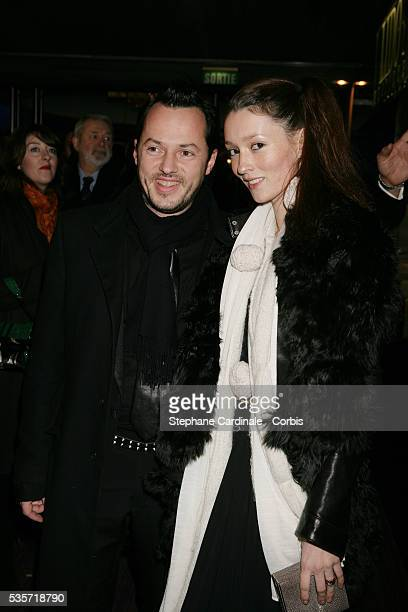 Audrey Marney and her husband at cocktail party held at The Lido in Paris