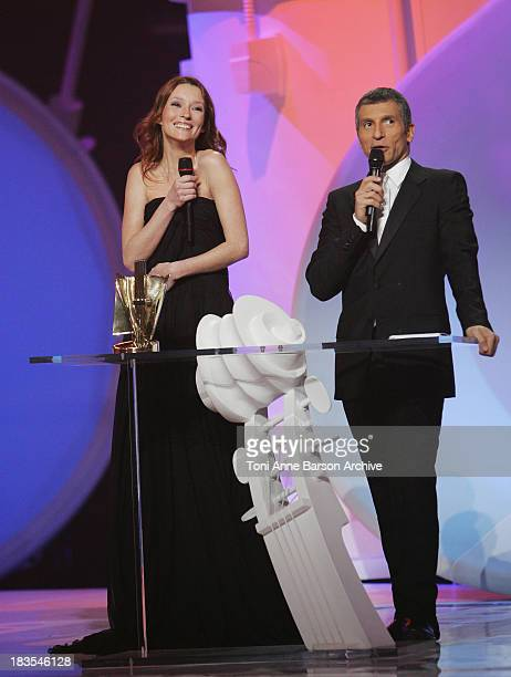 Audrey Marney and Host Nagui during the 23rd Victoires de la Musique awards ceremony on March 8th 2008 in Paris France
