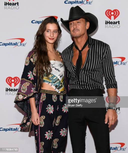 Audrey McGraw and her father Tim McGraw attend the 2019 iHeartRadio Music Festival and Daytime Stage at TMobile Arena on September 20 2019 in Las...