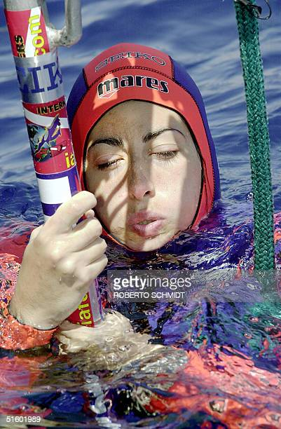 Audrey Mestre Ferreras concentrates 19 May as she regulates her breathing moments before taking a last breath to succesfully dive to a depth of 130...