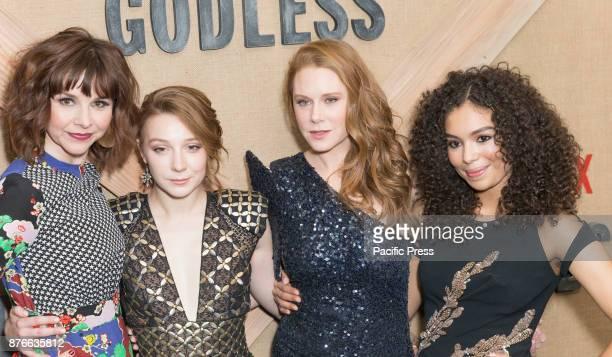 Audrey Moore Kayli Carter Christiane Seidel Jessica Sula attend Netflix Godless premiere at Metrograph