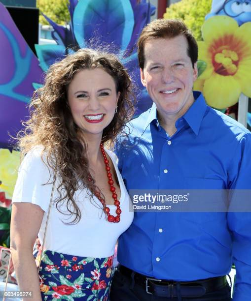 Audrey Murdick and husband actor Jeff Dunham attend the premiere of Sony Pictures' Smurfs The Lost Village at ArcLight Cinemas on April 1 2017 in...