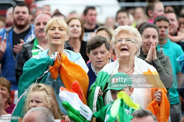 Audrey O'Connor and her mother Pearl Garland watch Ireland's Katie Taylor during her quarter final victory in the Women's Boxing 60kg category bout...