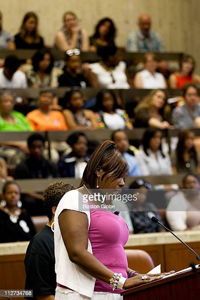 Audrey Perkins speaks during a hearing organized by City Councilor Ayanna Pressley devoted to hearing directly from the families of Boston's homicide...