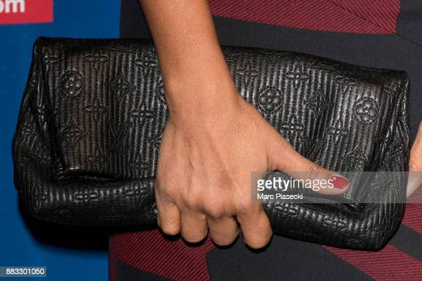 Audrey Pulvar clutch bag detail attends the 'ECinemacom' launch party at restaurant 'L'Ile' on November 30 2017 in IssylesMoulineaux France