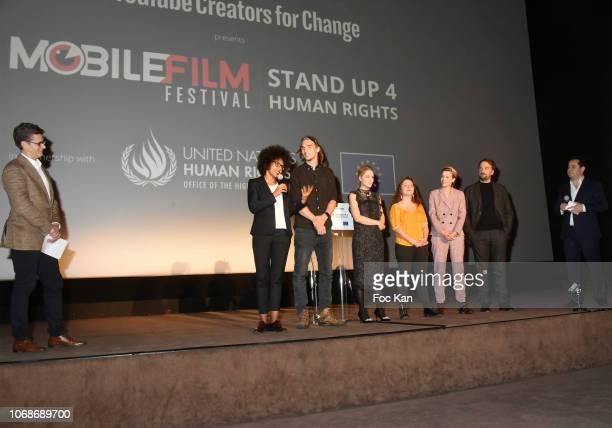 Audrey Pulvar Louis Cole Diana Zur Lowen Swann Perisse Celine Sallette and Louis Julien Petit attends the 'Mobile Film Festival Stand Up 4 Human...