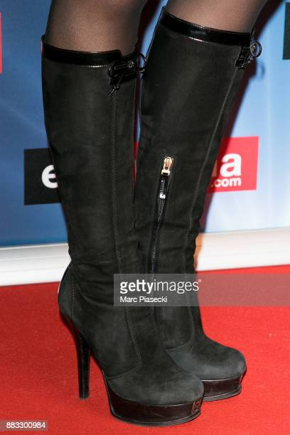 Audrey Pulvar shoe detail attends the 'ECinemacom' launch party at restaurant 'L'Ile' on November 30 2017 in IssylesMoulineaux France