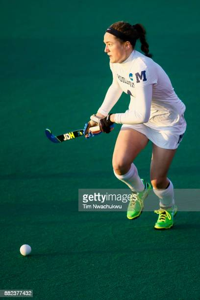 Audrey Quirk of Middlebury College looks for an open teammate during the Division III Women's Field Hockey Championship held at Trager Stadium on...