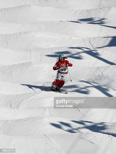 Audrey Robichaud of Canada competes in the Womens Freestyle Moguls Qualifying on Day 1 of the 2006 Turin Winter Olympic Games on February 11 2006 in...