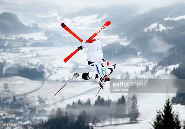 Audrey Robichaud of Canada in action during Ladies Moguls training at the FIS Freestyle Ski World Championships on January 17 2015 in Kreischberg...