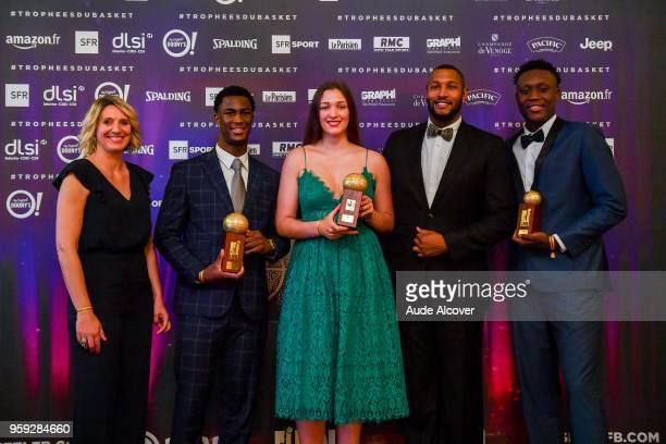 Audrey Sauret Adam Mokoka Alexia Chartereau Boris Diaw and Sekou Doumbouya during the Trophy Award LNB Basketball at Salle Gaveau on May 16 2018 in...