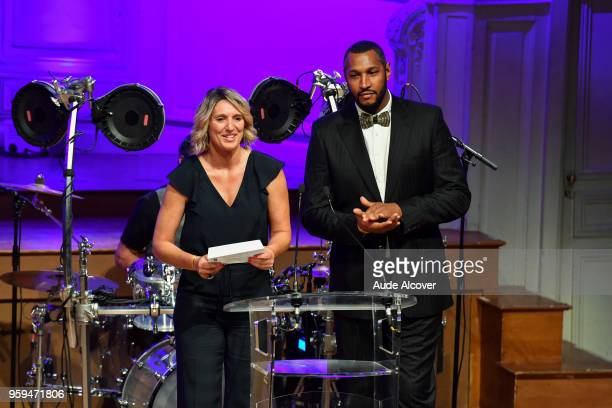 Audrey Sauret and Boris Diaw during the Trophy Award LNB Basketball at Salle Gaveau on May 16 2018 in Paris France