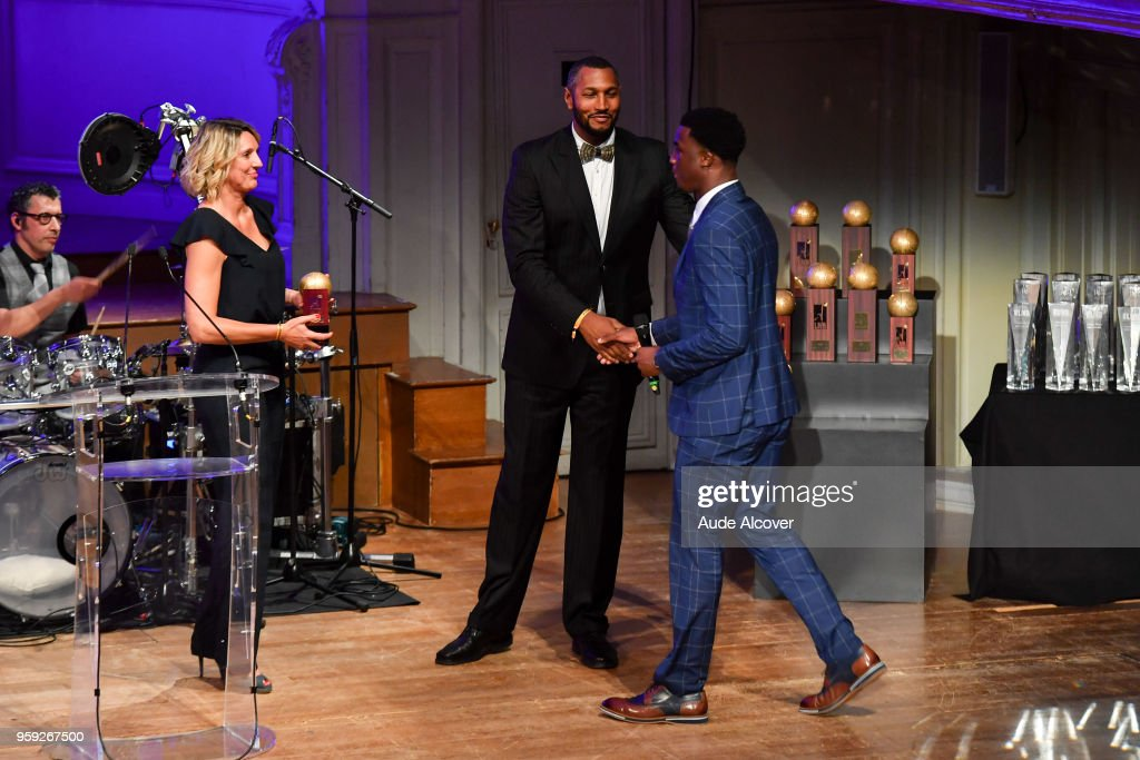 Audrey Sauret, Boris Diaw and Adam Mokoka (best young of Jeep Elite) during the Trophy Award LNB Basketball at Salle Gaveau on May 16, 2018 in Paris, France.