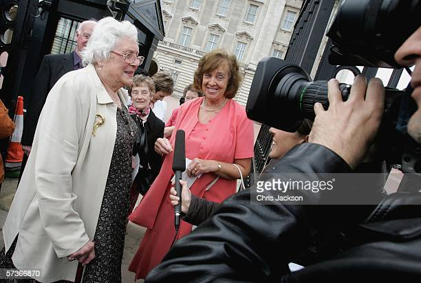 Audrey Strudwick from West Sussex is seen being interviewed by the media before attending the Queen's 80th Birthday Lunch on April 19, 2006 at...