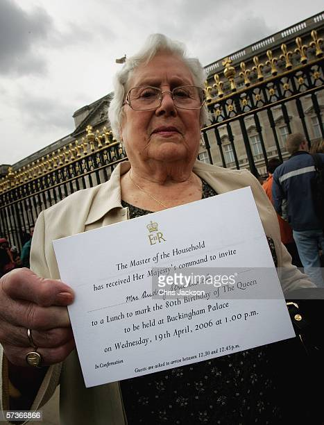 Audrey Strudwick from West Sussex poses with her invitation before attending the Queen's 80th Birthday Lunch on April 19, 2006 at Buckingham Palace...