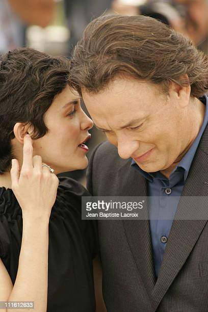 "Audrey Tautou and Tom Hanks during 2006 Cannes Film Festival - ""The Da Vinci Code"" Photo Call at Palais du Festival in Cannes, France, France."