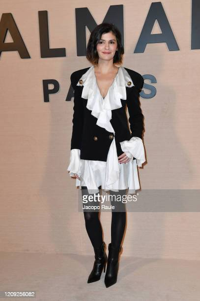 Audrey Tautou attends the Balmain show as part of the Paris Fashion Week Womenswear Fall/Winter 2020/2021 on February 28, 2020 in Paris, France.