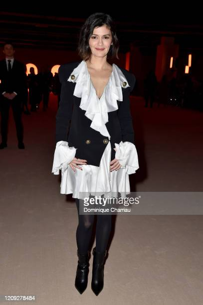 Audrey Tautou attends the Balmain show as part of the Paris Fashion Week Womenswear Fall/Winter 2020/2021 on February 28 2020 in Paris France