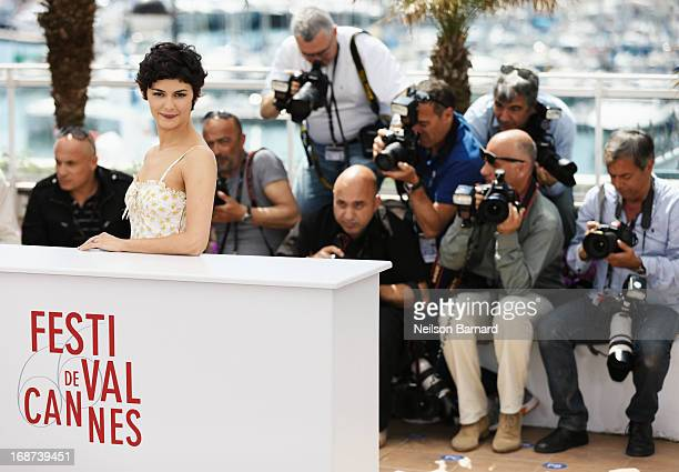 Audrey Tautou poses at a photo call during The 66th Annual Cannes Film Festival at at Palais des Festivals on May 14 2013 in Cannes France