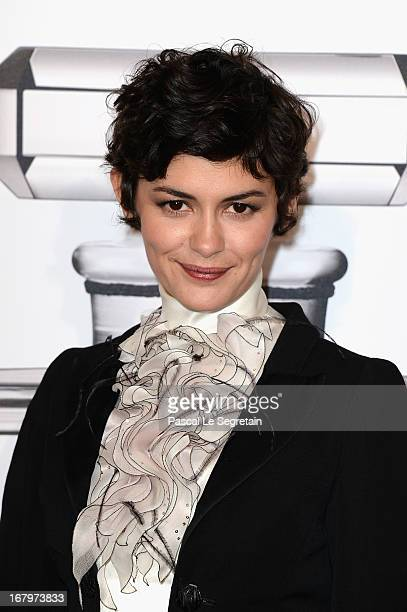Audrey Tautou poses during a photocall for 'N°5 Culture Chanel' exhibition at Palais De Tokyo on May 3 2013 in Paris France
