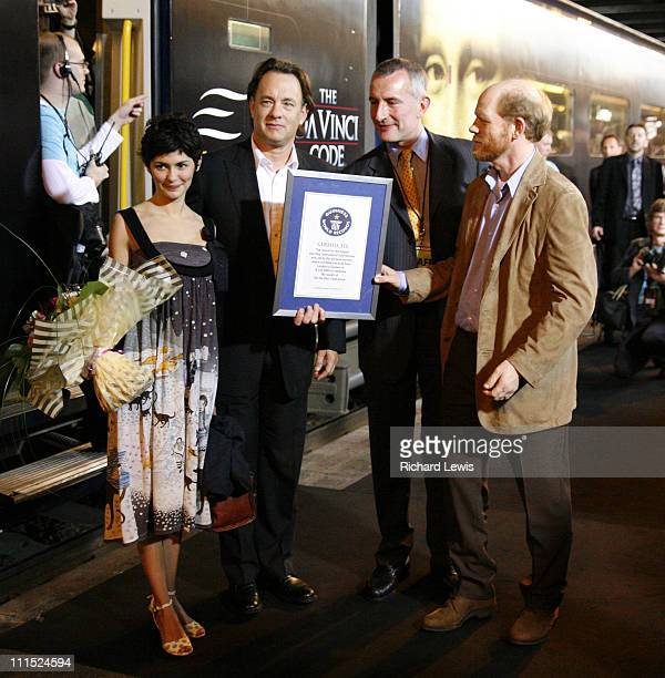 Audrey Tautou Tom Hanks with Guinness Book of World Records award for Actor with Most Consecutive $100 MillionGrossing Movies Guinness World Records...