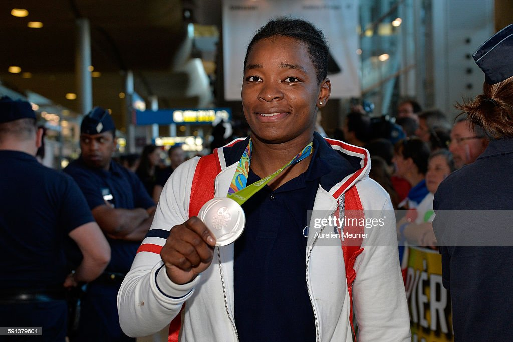 Audrey Tcheumeo, judo Silver medalist arrives at Roissy Charles de Gaulle airport after the Olympic Games in Rio on August 23, 2016 in Paris, France. Team France finished seventh in the medal table at the Rio Olympics, with a total of 42 medals.