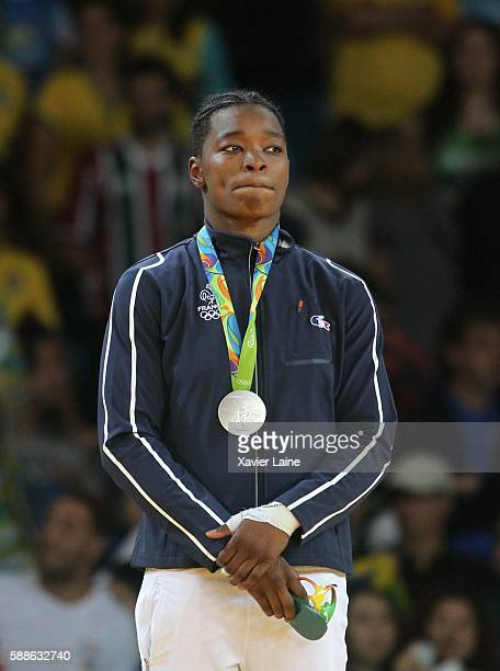 Audrey Tcheumeo of France celebrates his silver medal after the final women's 78kgs at Carioca Arena 2 during Day 6 of the 2016 Rio Olympics on...