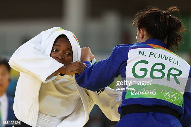 Audrey Tcheumeo of France competes with Natalie Powell of Great Britain during the women's 78kg elimination round judo contest on Day 6 of the 2016...