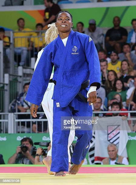 Audrey Tcheumeo of France react after the defeat during the final women's 78kgs at Carioca Arena 2 during Day 6 of the 2016 Rio Olympics on August 11...