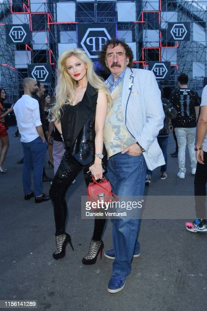 Audrey Tritto and Monty Shadow attend the Philipp Plein fashion show during the Milan Men's Fashion Week Spring/Summer 2020 on June 15 2019 in Milan...