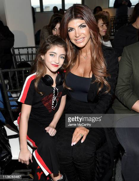 Audriana Giudice and Teresa Giudice attend the Cosmopolitan NYFW fashion show during New York Fashion Week at Tribeca 360 on February 08, 2019 in New...