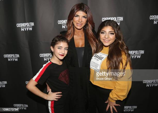 Audriana Giudice, Teresa Giudice and Milania Giudice pose at the Cosmopolitan New York Fashon Week #Eye Candy event After Party at Planet Hollywood...