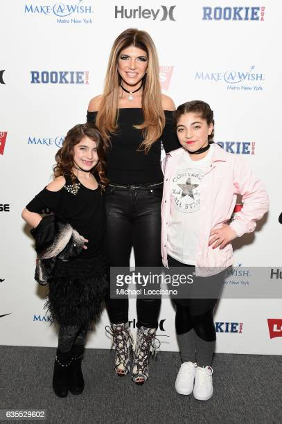 Audriana Giudice, Teresa Giudice and Milania Giudice pose backstage at the Rookie USA fashion show during New York Fashion Week: The Shows at Gallery...