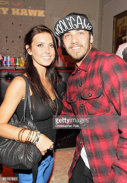 HOLLYWOOD CA AUGUST 01 Audrina Patridge and Justin Bobby at the launch of the limited edition TMobile Sidekick LX designed by Tony Hawk in Hollywood...