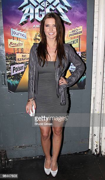 *EXCLUSIVE* Audrina Patridge poses backstage at hit rock musical Rock of Ages on Broadway at The Brooks Atkinson Theater on April 13 2010 in New York...