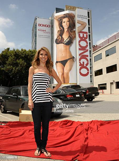 Audrina Patridge unveils her new Bongo swimsuit billboard on Sunset Blvd on April 7 2011 in West Hollywood California