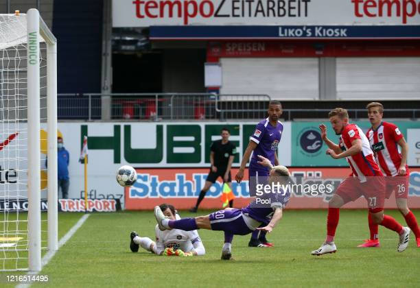 Aue's Calogero Rizzuto steers the ball into his own goal to make it 1-0 for Heidenheim during the Second Bundesliga match between 1. FC Heidenheim...