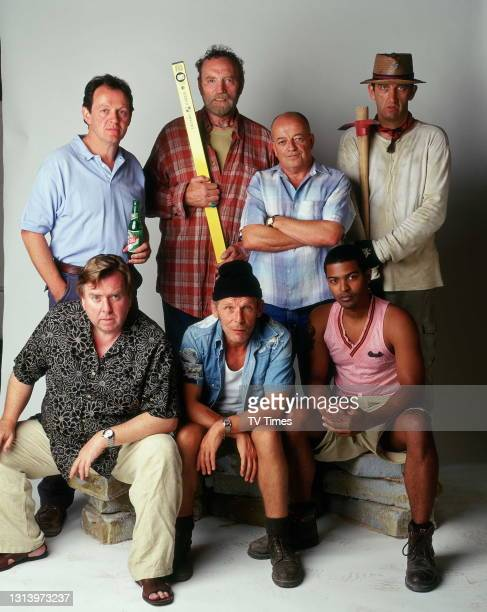 Auf Wiedersehen, Pet actors Jimmy Nail, Timothy Spall, Christopher Fairbank, Noel Clarke, Tim Healy, Kevin Whately and Pat Roach, circa 2004.