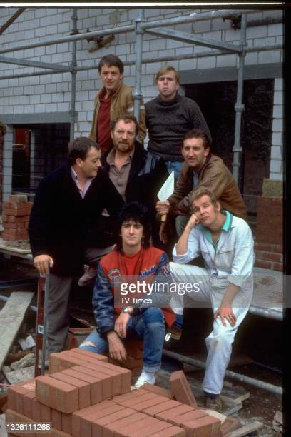 Auf Wiedersehen, Pet actors Kevin Whately Timothy Spall, Jimmy Nail, Christopher Fairbank, Gary Holton, Tim Healy and Pat Roach, circa 1986.
