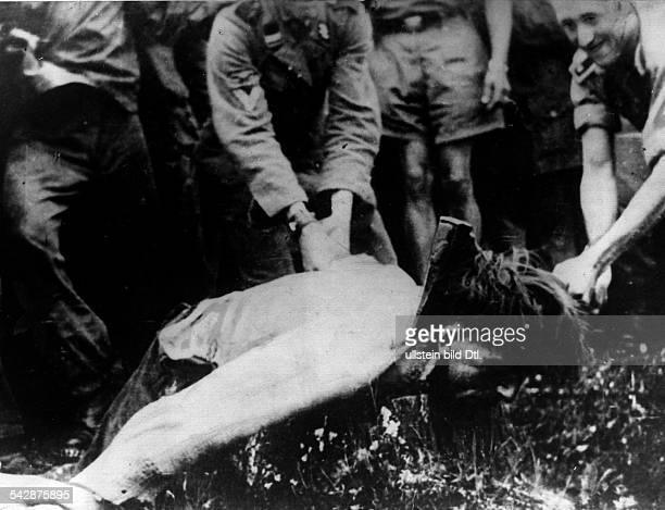 Aufnahme die sich bei einem Gefangenen der 7 WaffenSS Division 'Prinz Eugen' die vornehmlich ausvolksdeutschen aus Banat Batschka und Baranya besteht...