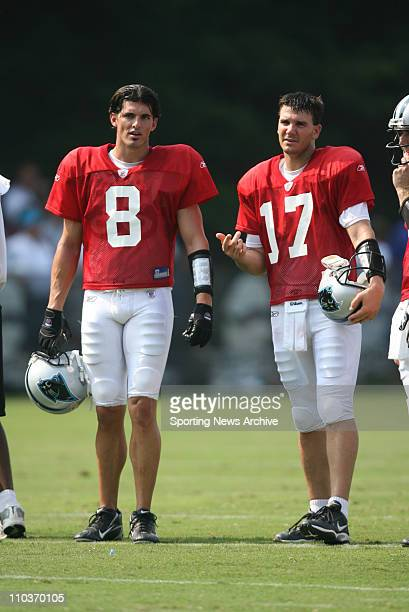 Aug 01 2007 Spartanburg SC USA Carolina Panthers DAVID CARR JAKE DELHOMME on Aug 1 2007 at Wofford College in Spartanburg SC