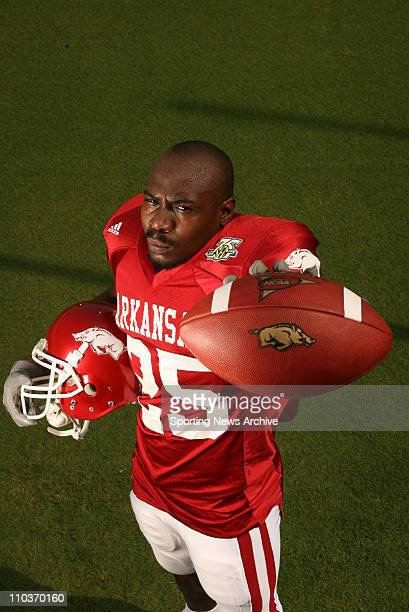 Aug 03 2007 Fayetteville AR USA Arkansas Razorbacks tailback and kickoff returner FELIX JONES poses for a portrait at Donald W Reynolds Razorback...