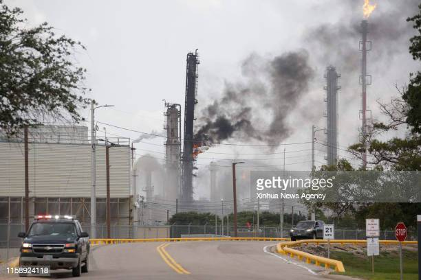 HOUSTON Aug 1 2019 A fire burns at an ExxonMobil plant in Baytown about 40 km east of downtown Houston Texas the United States July 31 2019 A total...