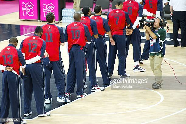 Aug 10 2012 London England United Kingdom With a television cameraman filming them team USA basketball the so called 'Dream Team' members of CHRIS...