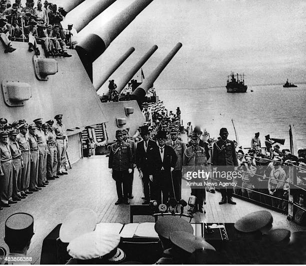 BEIJING Aug 13 2015 File photo taken on Sept 2 1945 shows Japan's surrender ceremony aboard the United States Navy battleship USS Missouri anchored...